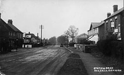 Black and white photo of Station Road, Balsall Common